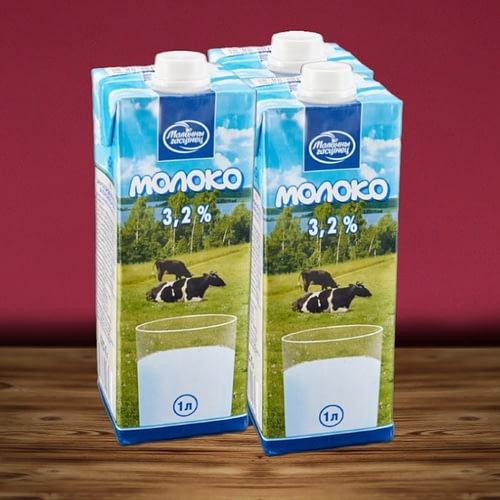 Молоко Молочный гастинец - ультрапастеризованное. Жирность 3,2%.